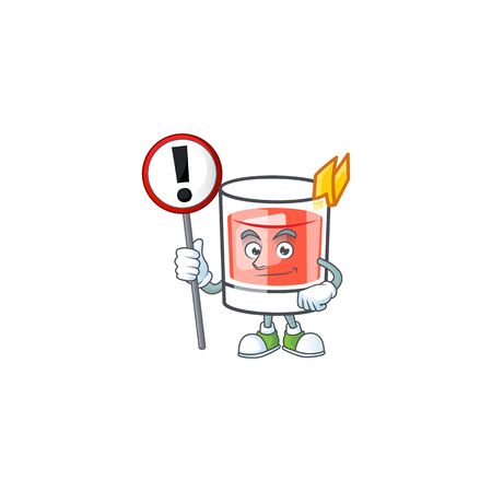 Sazerac drink in glass with character with sign warning. Vector illustration  イラスト・ベクター素材