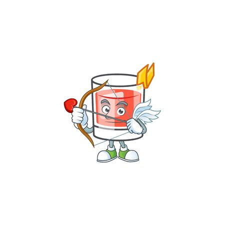 Sazerac drink in glass with character cupid. Vector illustration
