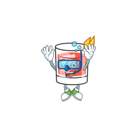 Sazerac alcohol cartoon character with diving mascot vector illustration  イラスト・ベクター素材
