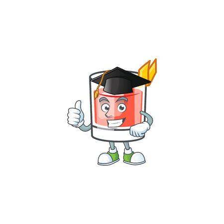 Sazerac alcohol cartoon character with graduation hat mascot vector illustration