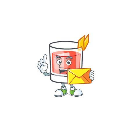 Sazerac alcohol cartoon character with bring envelope mascot vector illustration