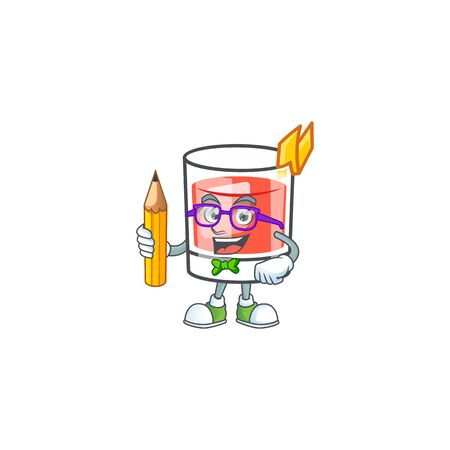 Sazerac alcohol cartoon character with student holding pencil mascot vector illustration