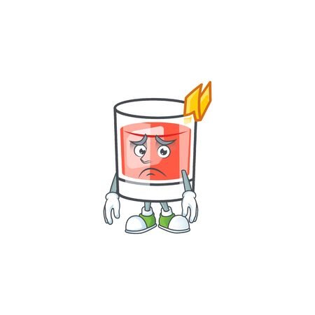 Afraid character on cartoon a sazerac drink. Vector illustration
