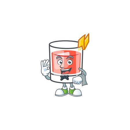 Waiter mascot on sazerac drink cartoon shape. Vector illustration Ilustração