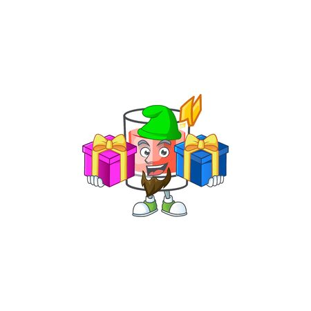 Sazerac bring two gifts character on the a cartoon vector illustration