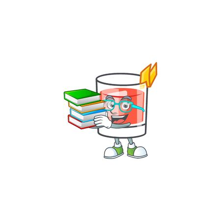 Sazerac student bring book character on the a cartoon vector illustration
