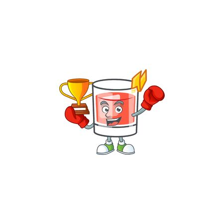 Sazerac boxing winner character on the a cartoon vector illustration