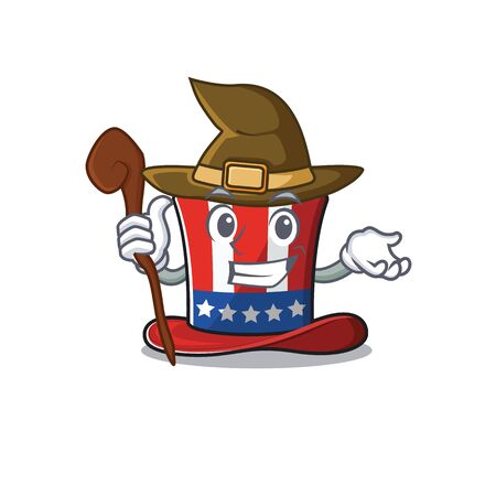 Character uncle sam hat with witch happy