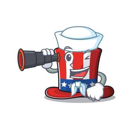 Cartoon uncle sam hat sailor holding binocular