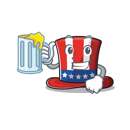 Character uncle sam hat on holding juice Illustration