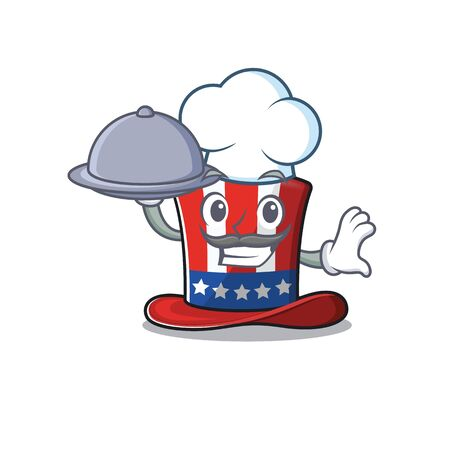 Cartoon uncle sam hat with chef holding food