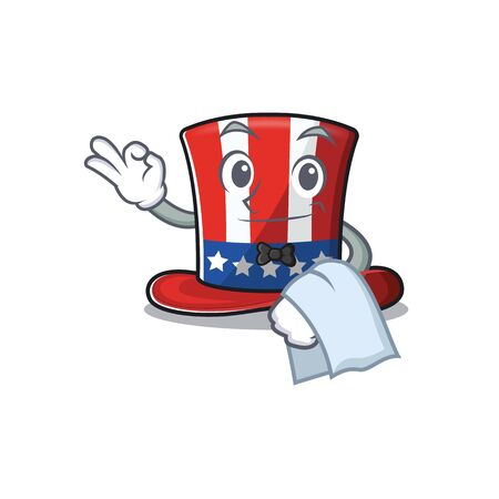 Cartoon uncle sam hat in holding waiter