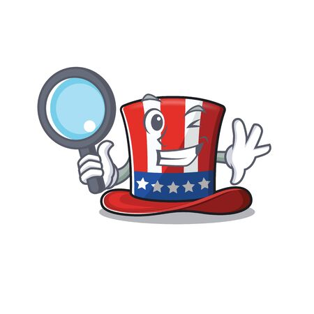 Character uncle sam hat with mascot detective 向量圖像