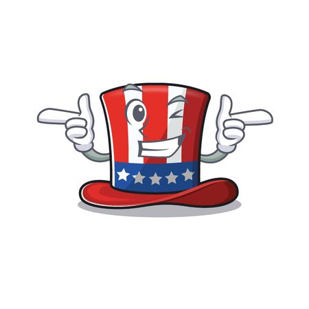 Cartoon uncle sam hat a wink mascot