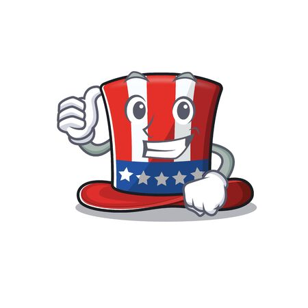 Mascot uncle sam hat a thumbs up isolated