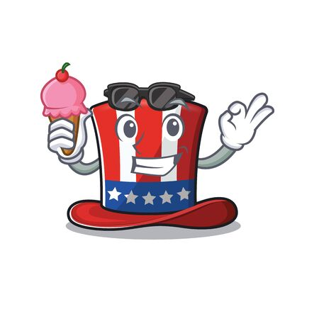 Character uncle sam hat with ice cream cute 向量圖像