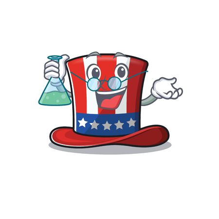 Uncle sam hat cartoon with professor character 向量圖像
