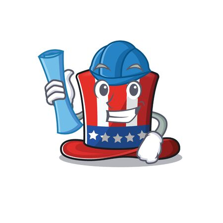 Uncle Sam hat architect in cartoon mascot 向量圖像
