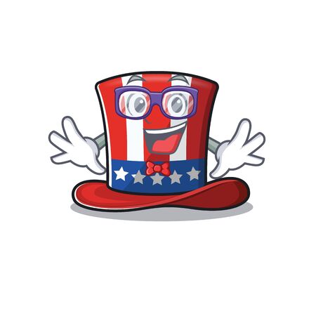 Cartoon uncle Sam hat with a character geek