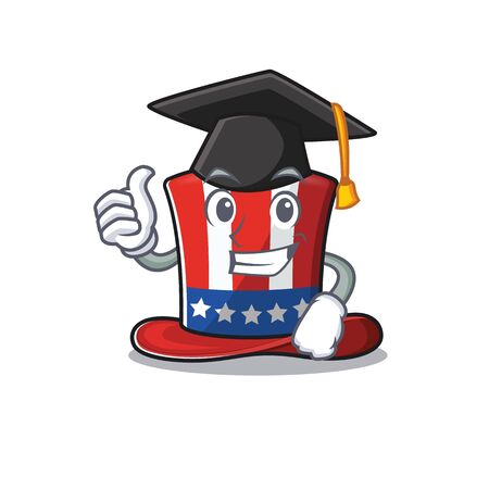 Cartoon uncle Sam hat with graduation hat