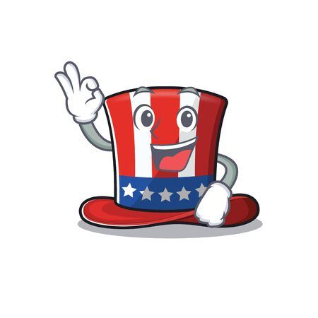 Character uncle sam hat cartoon with okay