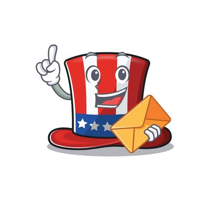 Character uncle sam hat isolated bring envelope