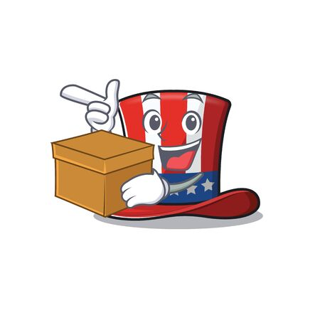 Uncle sam hat with bring box cartoon