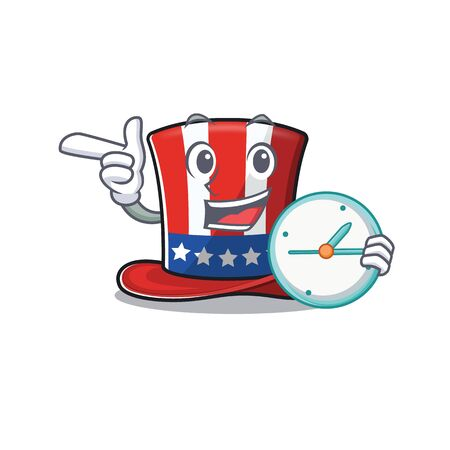 Cartoon uncle sam hat with bring clock 向量圖像