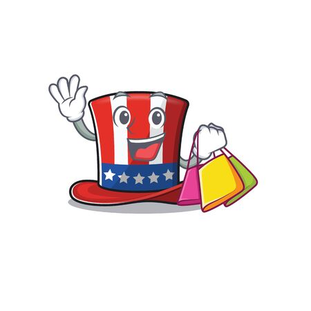 Character uncle sam hat with the shopping 向量圖像