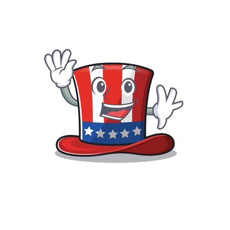 Uncle sam hat in with waving character 向量圖像