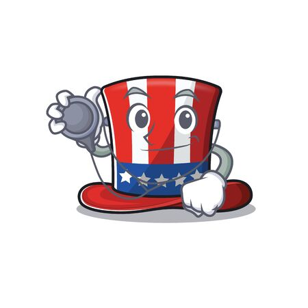 Uncle sam hat with shape cartoon doctor