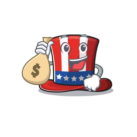 Cartoon uncle sam hat with holding money bag