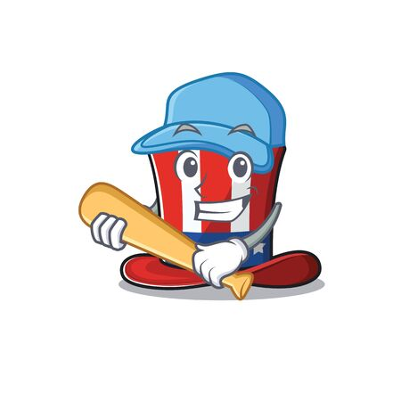 Cartoon uncle sam hat character playing baseball