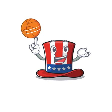 Uncle sam hat cartoon holding basketball happy 向量圖像