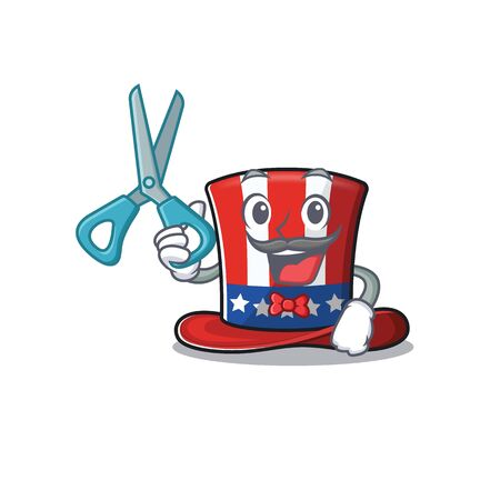 Character uncle sam hat with barber cute 向量圖像