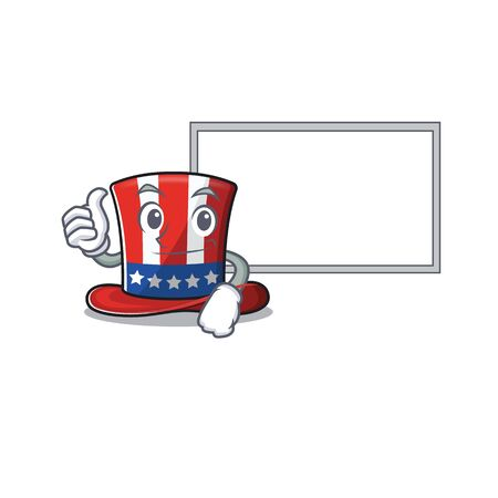 Uncle sam hat character thumbs up with board 向量圖像