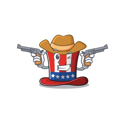 Mascot uncle sam hat in with cowboy 向量圖像