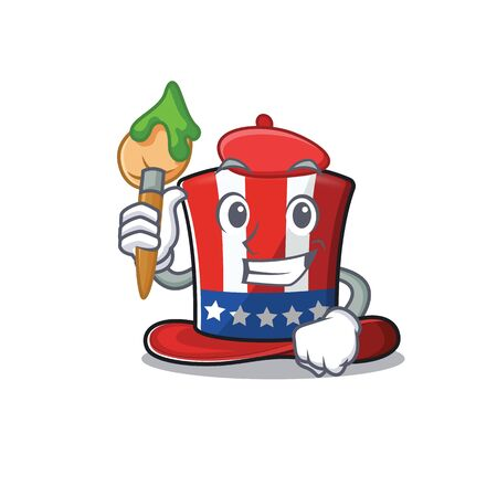 Uncle sam hat in with painter character