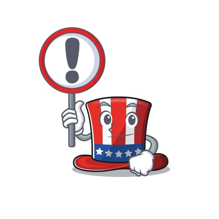 Cartoon uncle sam hat with a warning sign