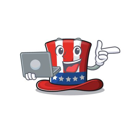 Uncle sam hat with bring laptop mascot 向量圖像