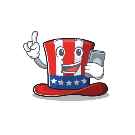 Uncle sam hat with holding phone character