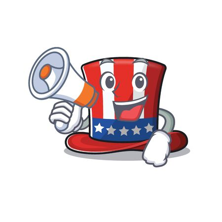 Uncle sam hat isolated with holding megaphone