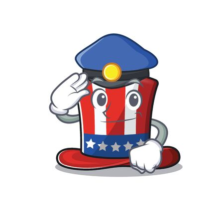 Uncle sam hat cartoon with police shape