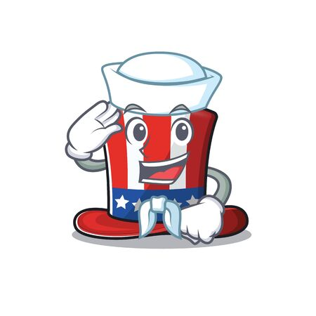 Character uncle sam hat cartoon with sailor shape