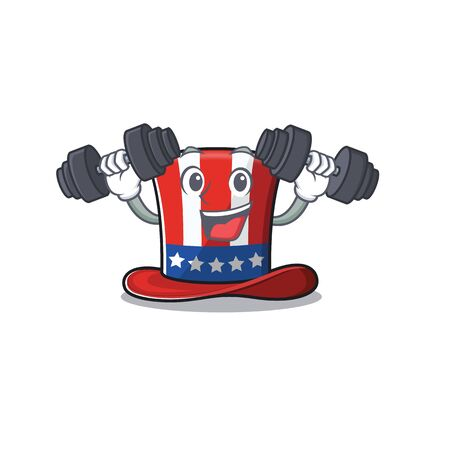 Uncle sam hat mascot with bring barbell