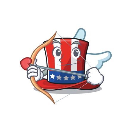 Character uncle sam hat with cartoon cupid 向量圖像