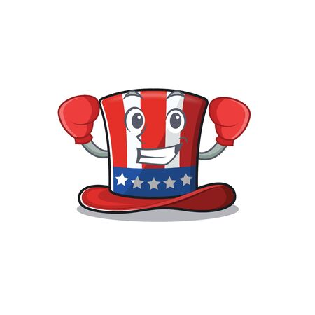 Uncle sam hat in with boxing cartoon