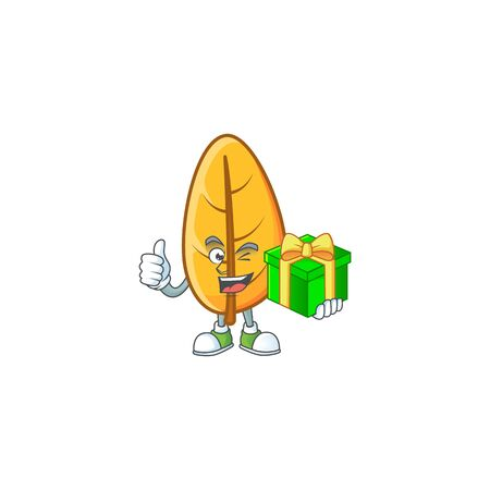 Holding gift mascot on cartoon yellow autumn leaves vector illustration Foto de archivo - 133690577