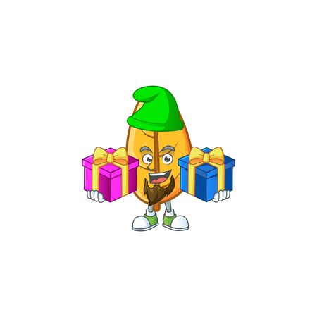 Yellow autumn leaves in with mascot bring two gifts vector illustration Foto de archivo - 133690636