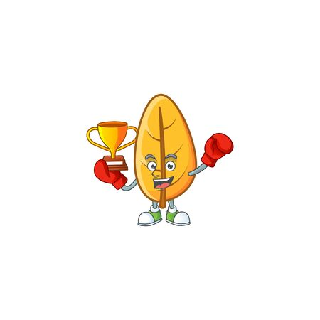 Yellow autumn leaves in with mascot boxing winner vector illustration 向量圖像